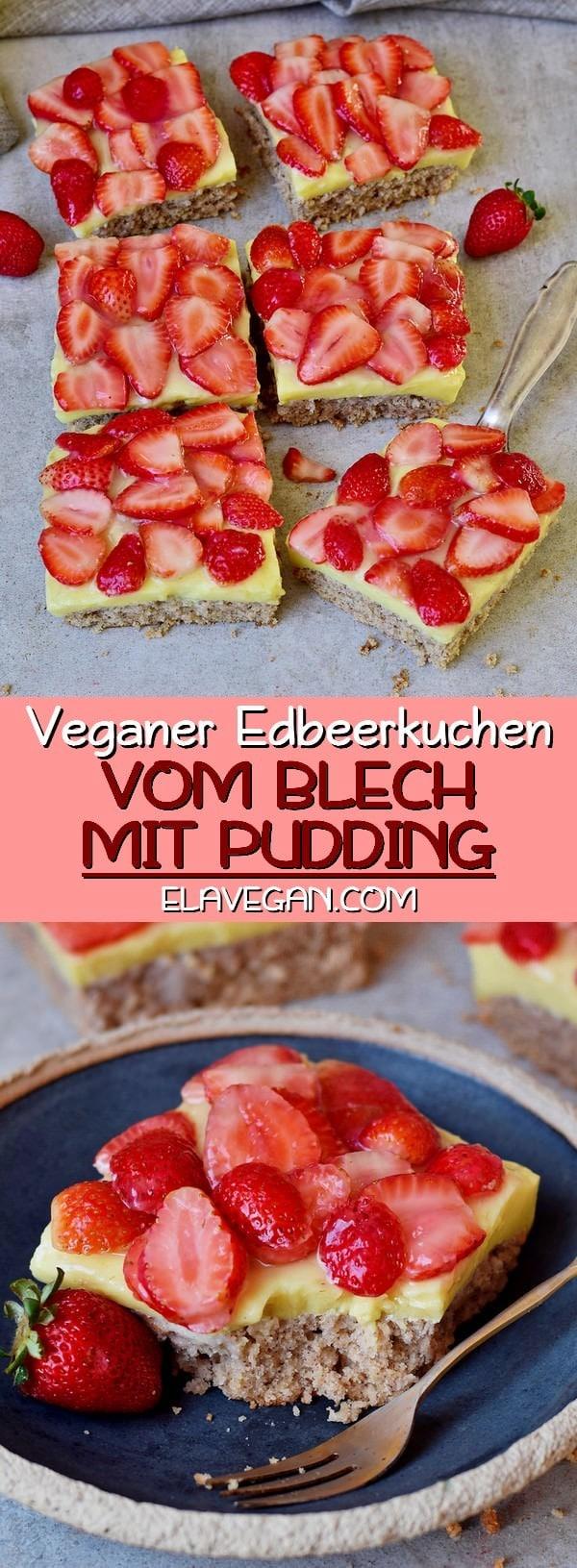 Veganer Erdbeerkuchen vom Blech mit Pudding