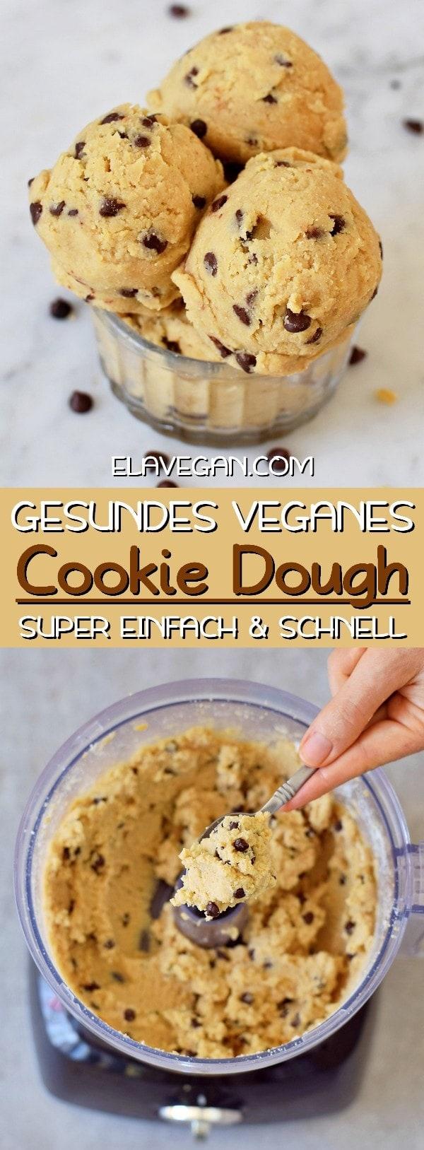 Veganes Cookie Dough Rezept mit Schokochips! Schnell, einfach und gesund ist dieser Keksteig zubereitet!