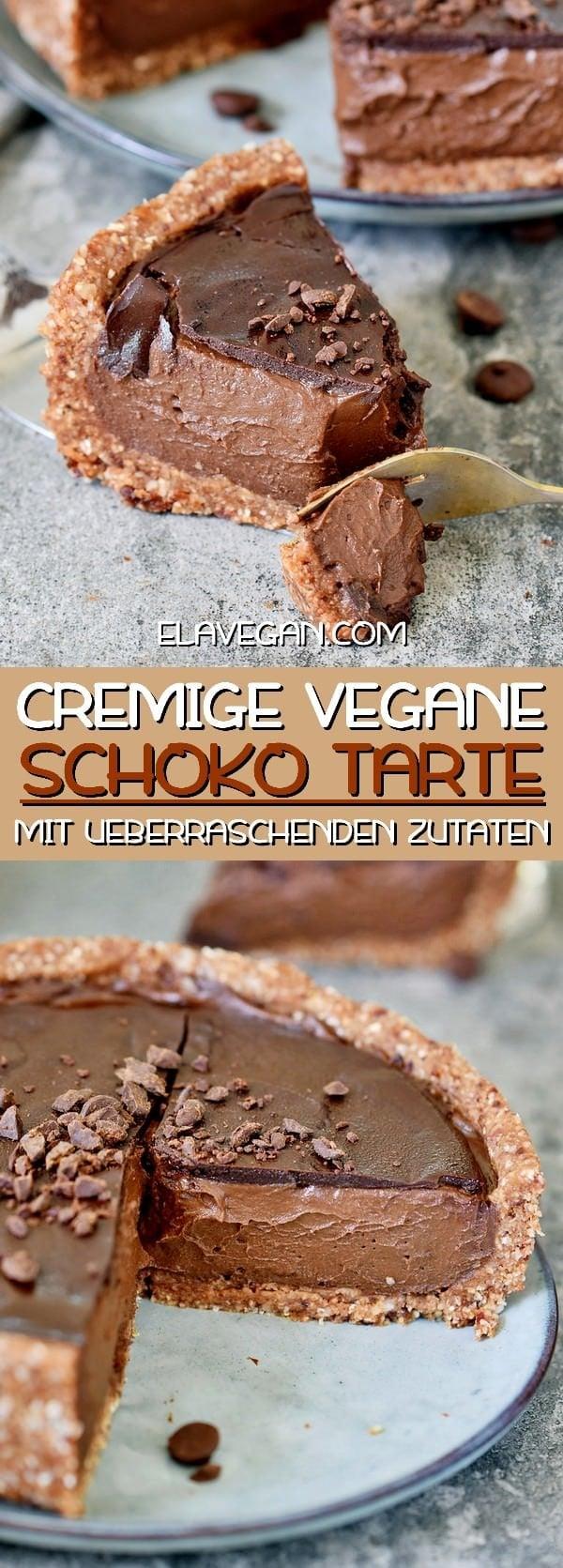 Cremige vegane Schokoladen Tarte mit überraschenden Zutaten