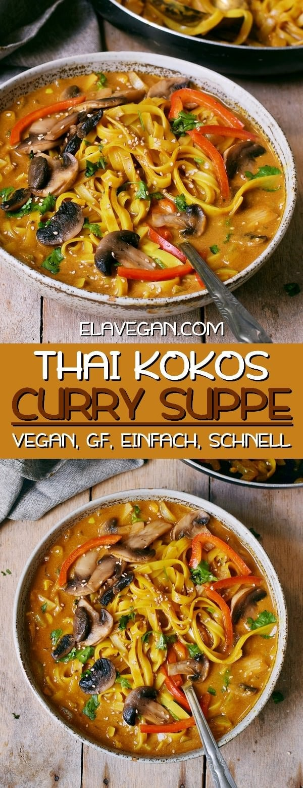 Einfache vegane Thai Kokos Suppe