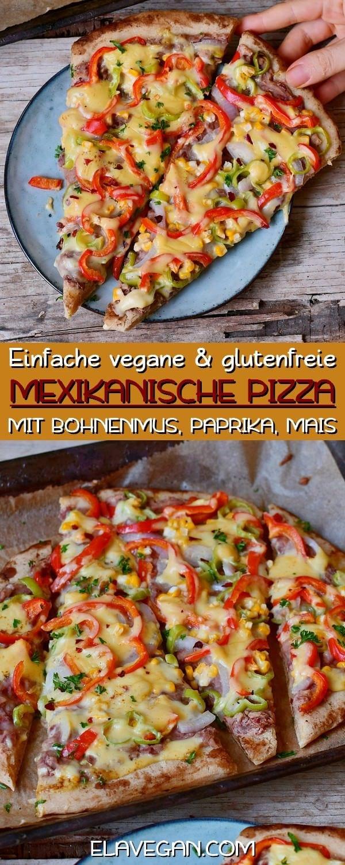 Einfache vegane und glutenfreie mexikanische Pizza