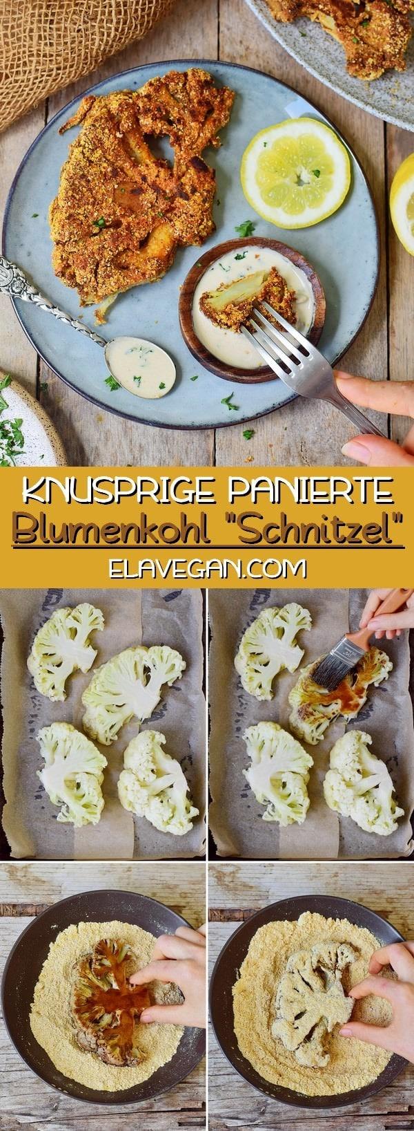 Knusprige panierte Blumenkohl Schnitzel vegan glutenfrei