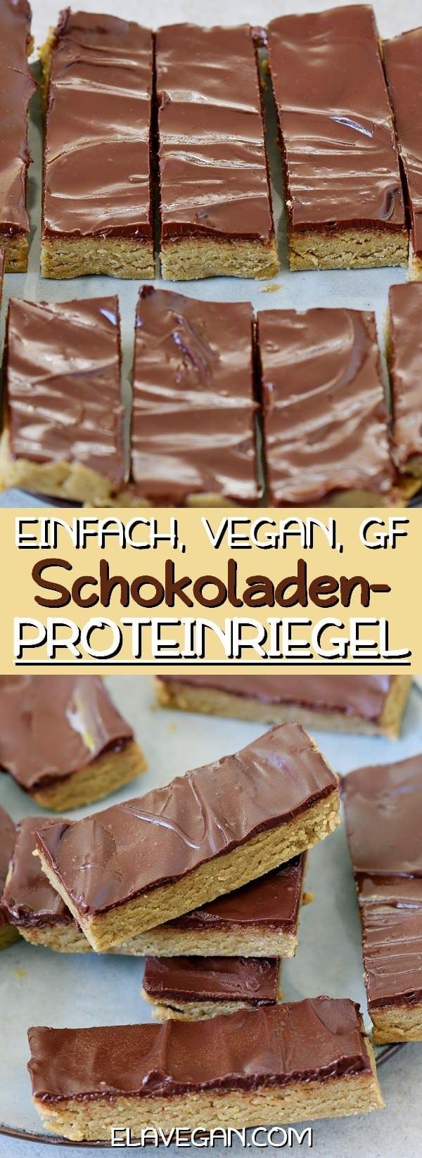 Proteinriegel mit Schokolade einfaches veganes Rezept