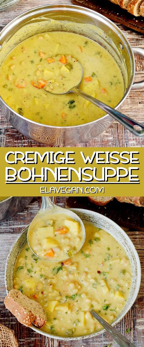 Cremige weiße Bohnensuppe vegan