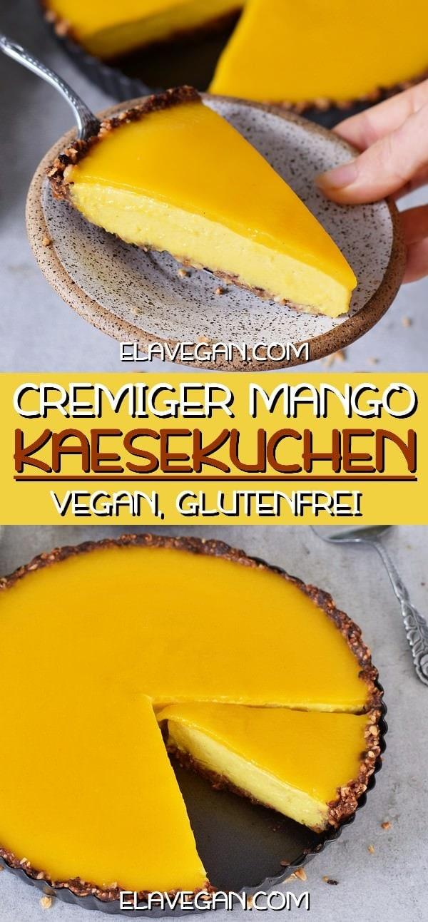 Cremiger Mango Käsekuchen vegan glutenfrei