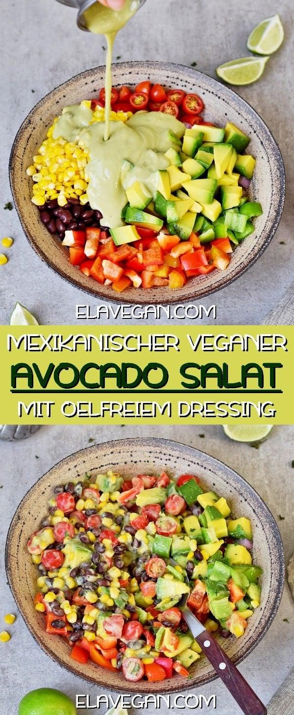 Mexikanischer veganer Avocado Maissalat mit ölfreiem Dressing