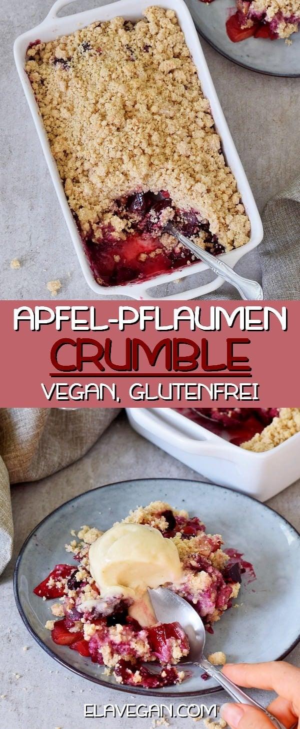 Veganer Apfel-Pflaumen Crumble mit glutenfreien Streuseln