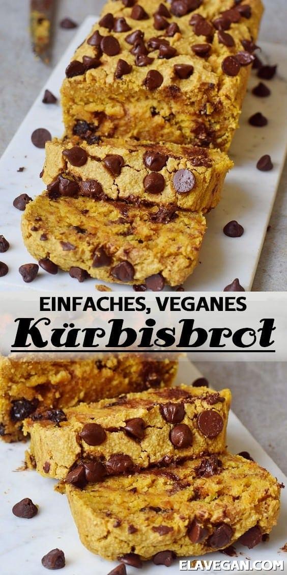Pinterest Collage einfaches veganes Kürbisbrot