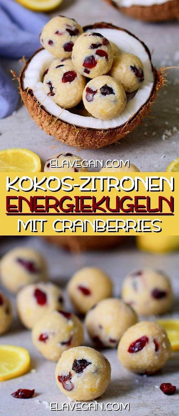 Kokos Zitronenbällchen Energiekugeln mit Cranberries