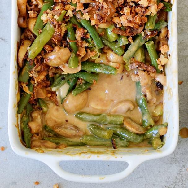 einfacher grüner bohnenauflauf mit champignons vegan glutenfrei