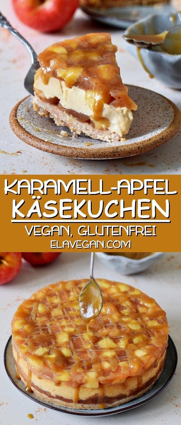 Karamell Apfel Käsekuchen vegan glutenfrei