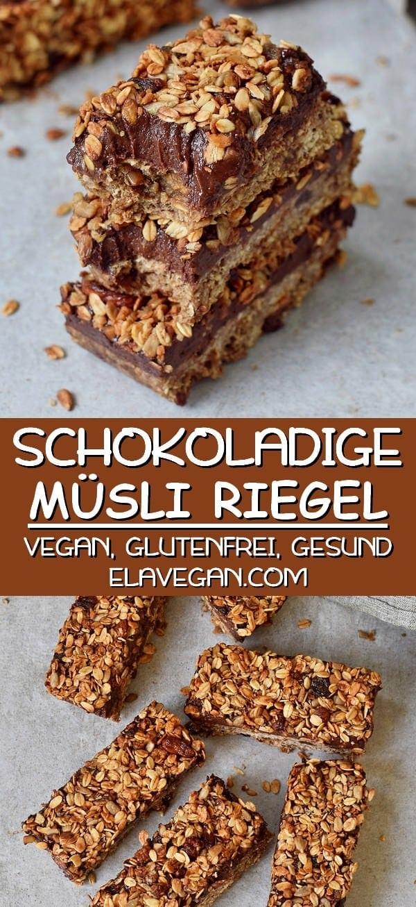 Schokoladige Müsli Riegel Pinterest Collage