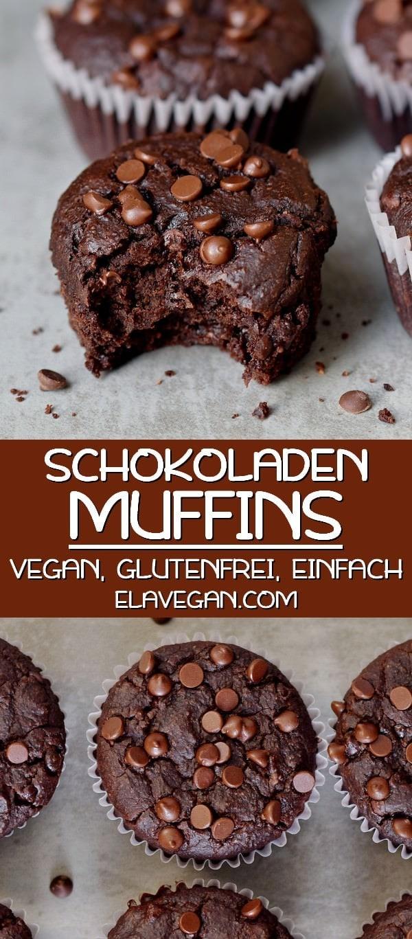 Pinterest Collage über vegane Schokomuffins