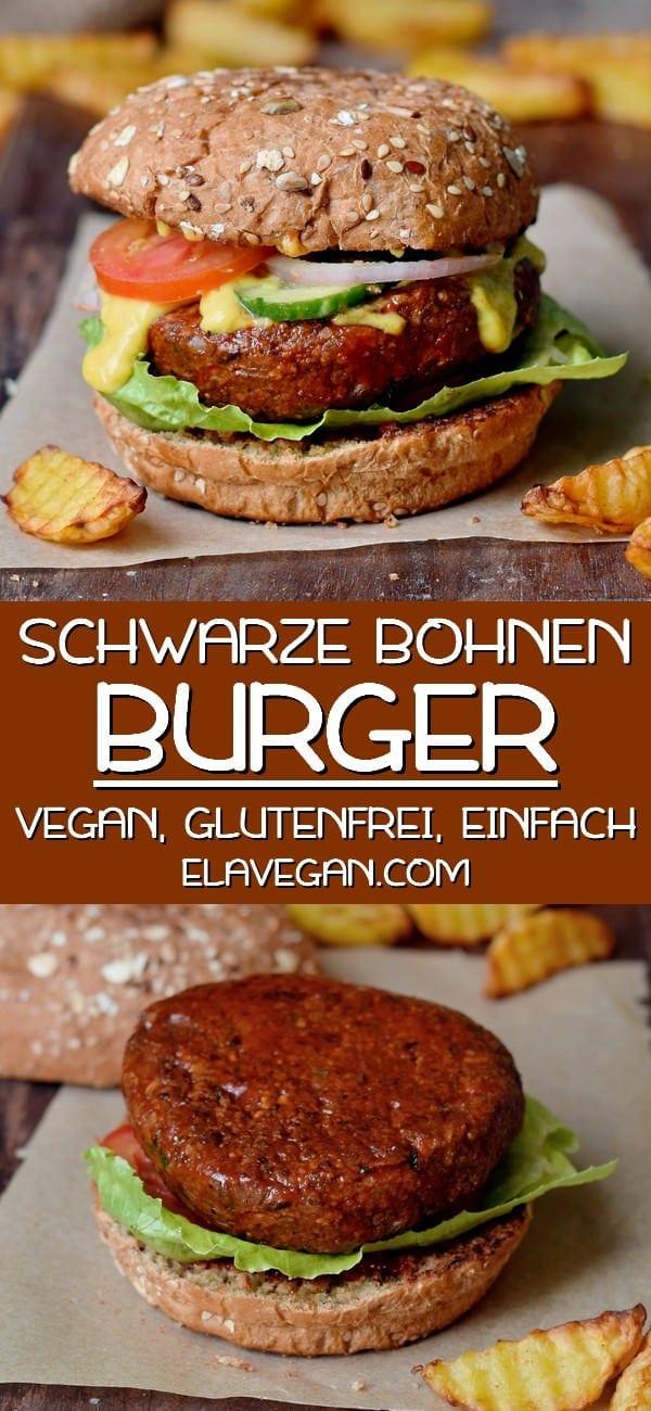 Pinterest Collage über veganen Bohnenburger