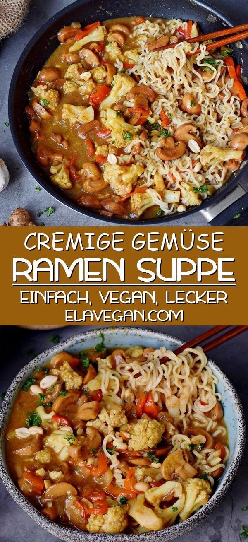pinterest Collage über cremige vegane Ramen Suppe