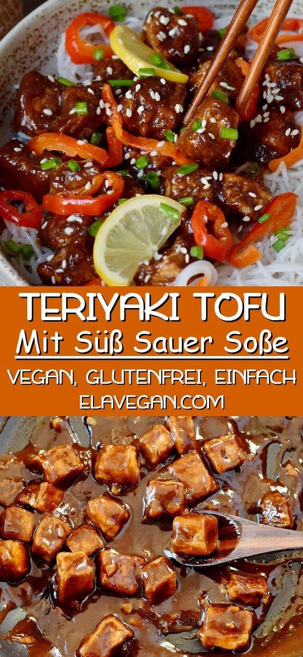 pinterest collage Teriyaki Tofu mit süß sauer soße