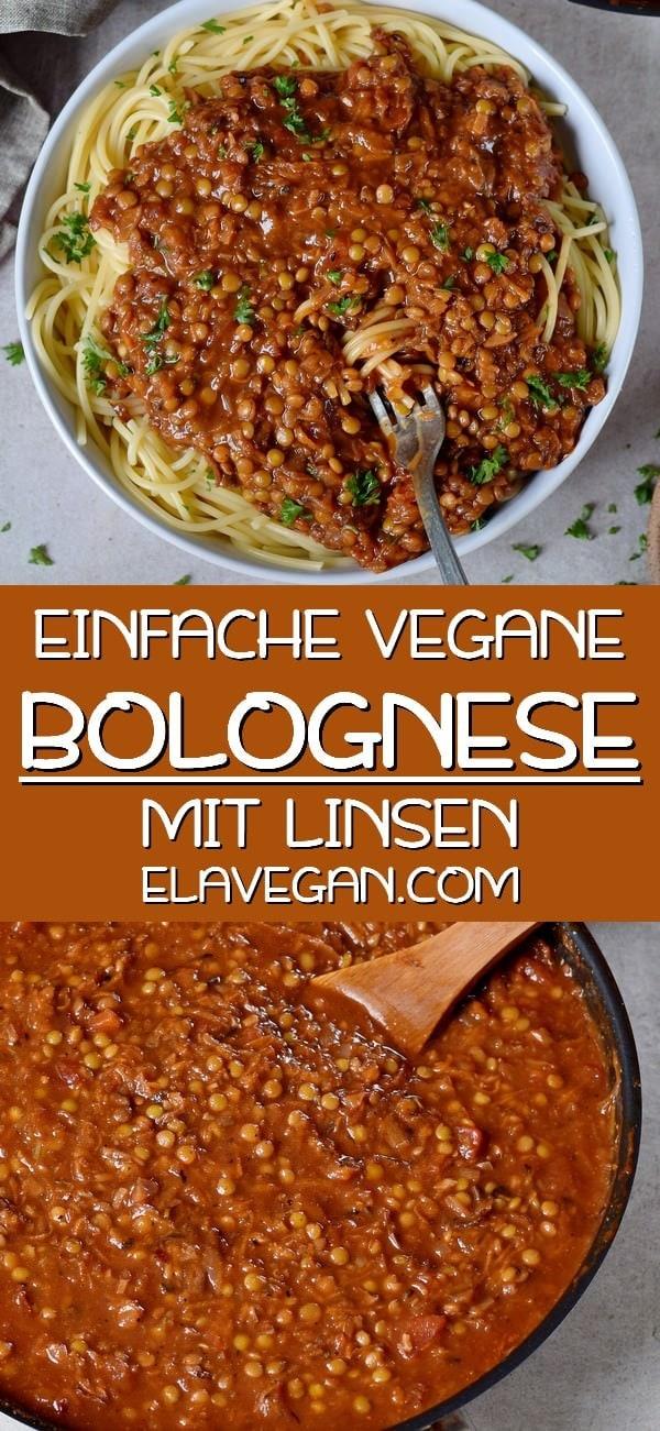 Pinterest Collage einfache vegane Bolognese Soße mit Linsen