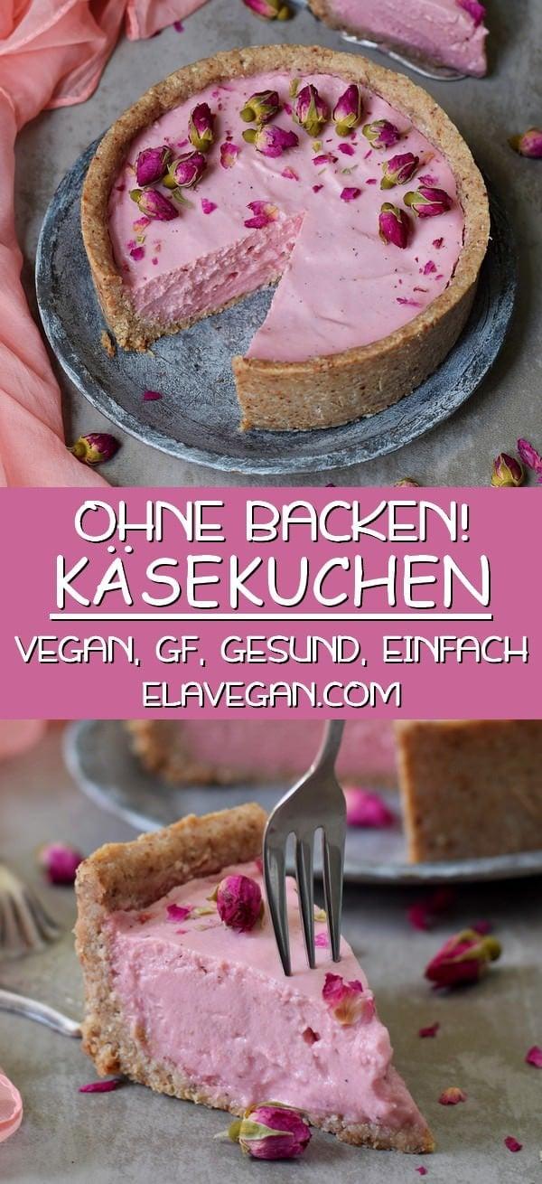 pinterest collage über rosanen veganen Käsekuchen ohne backen