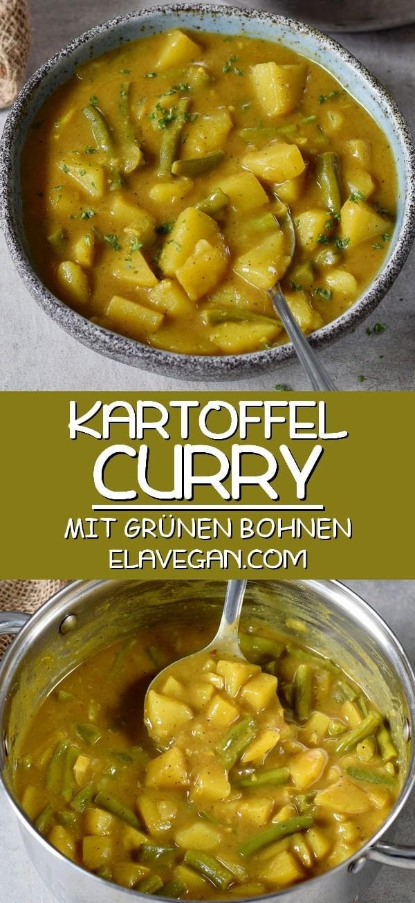 pinterest collage veganes Kartoffel Curry mit grünen Bohnen