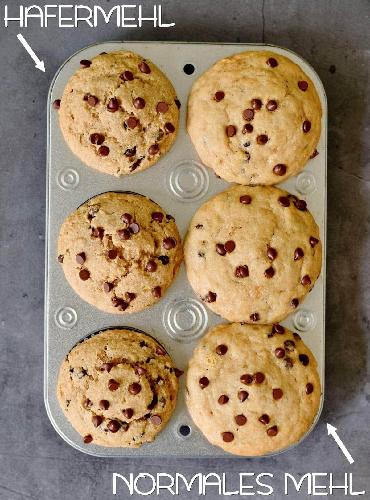 Unterschied Hafermehl Muffins und Weizenmehl Muffins