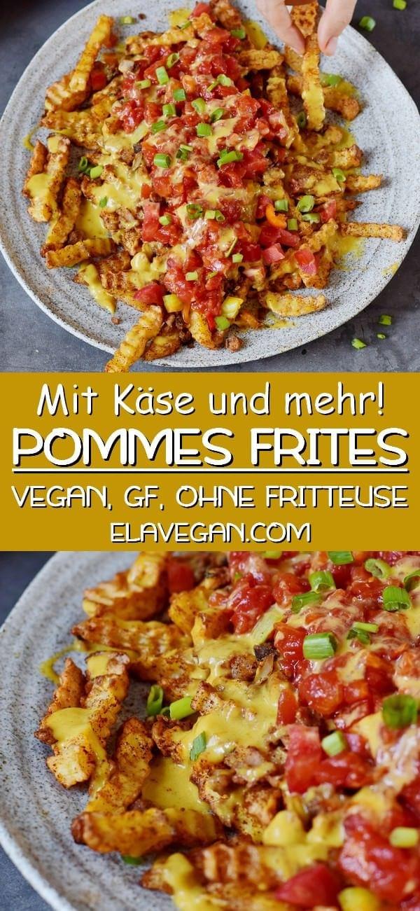 pinterest collage pommes frites mit veganem käse und mehr
