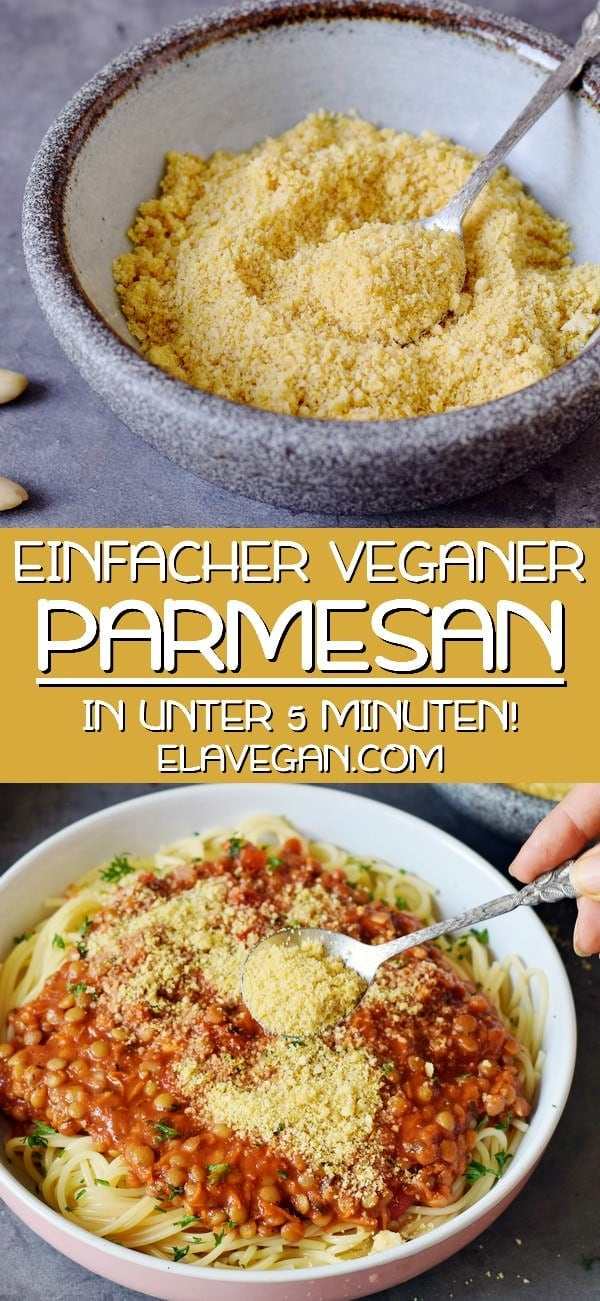 Pinterest collage einfacher veganer Parmesan Käse