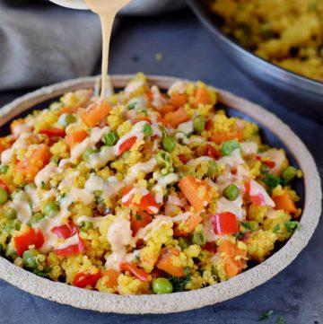 Quinoa Gemüse Pfanne mit Salat-Dressing
