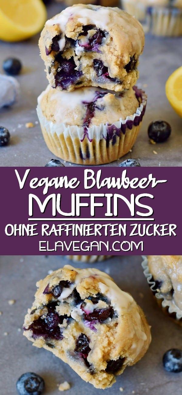 pinterest collage vegane blaubeermuffins ohne raffinierten zucker