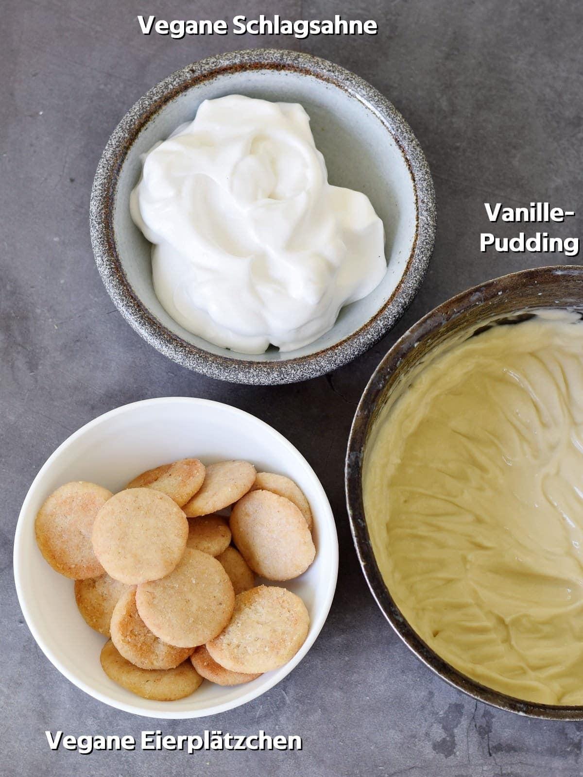 vegane eierplätzchen vegane schlagsahne und vanillepudding