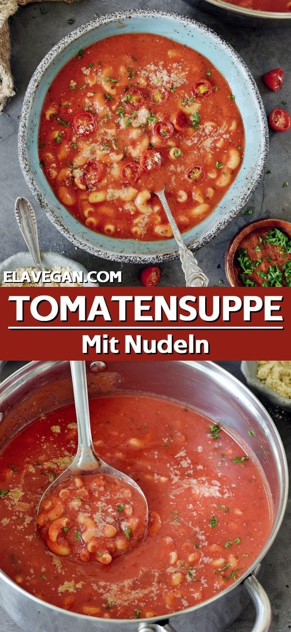 Pinterest Collage Tomatensuppe mit Nudeln
