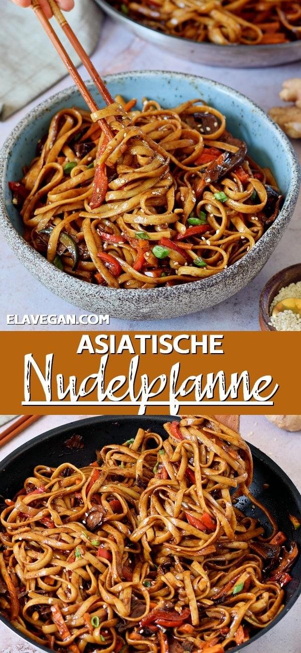 Pinterest Collage asiatische Nudelpfanne mit Gemüse