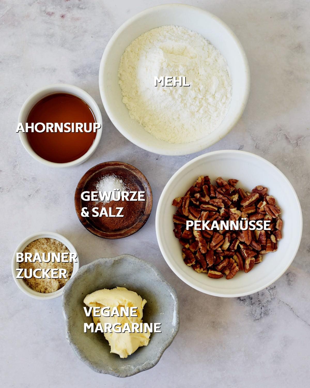 Zutaten für Streusel mit Pekannüssen