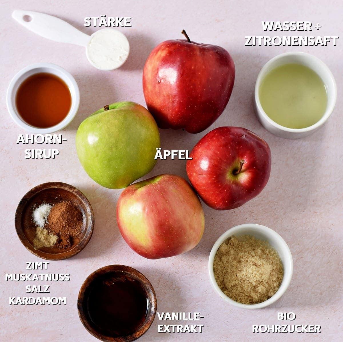 Füllungs-Zutaten für Apfel Crumble