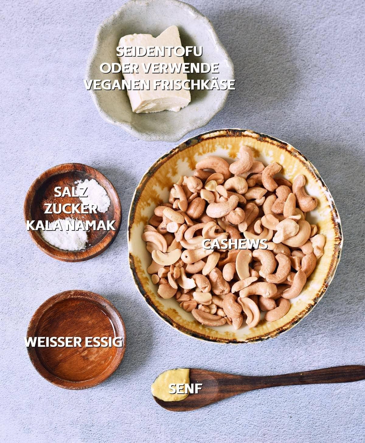 Zutaten für vegane Mayonnaise