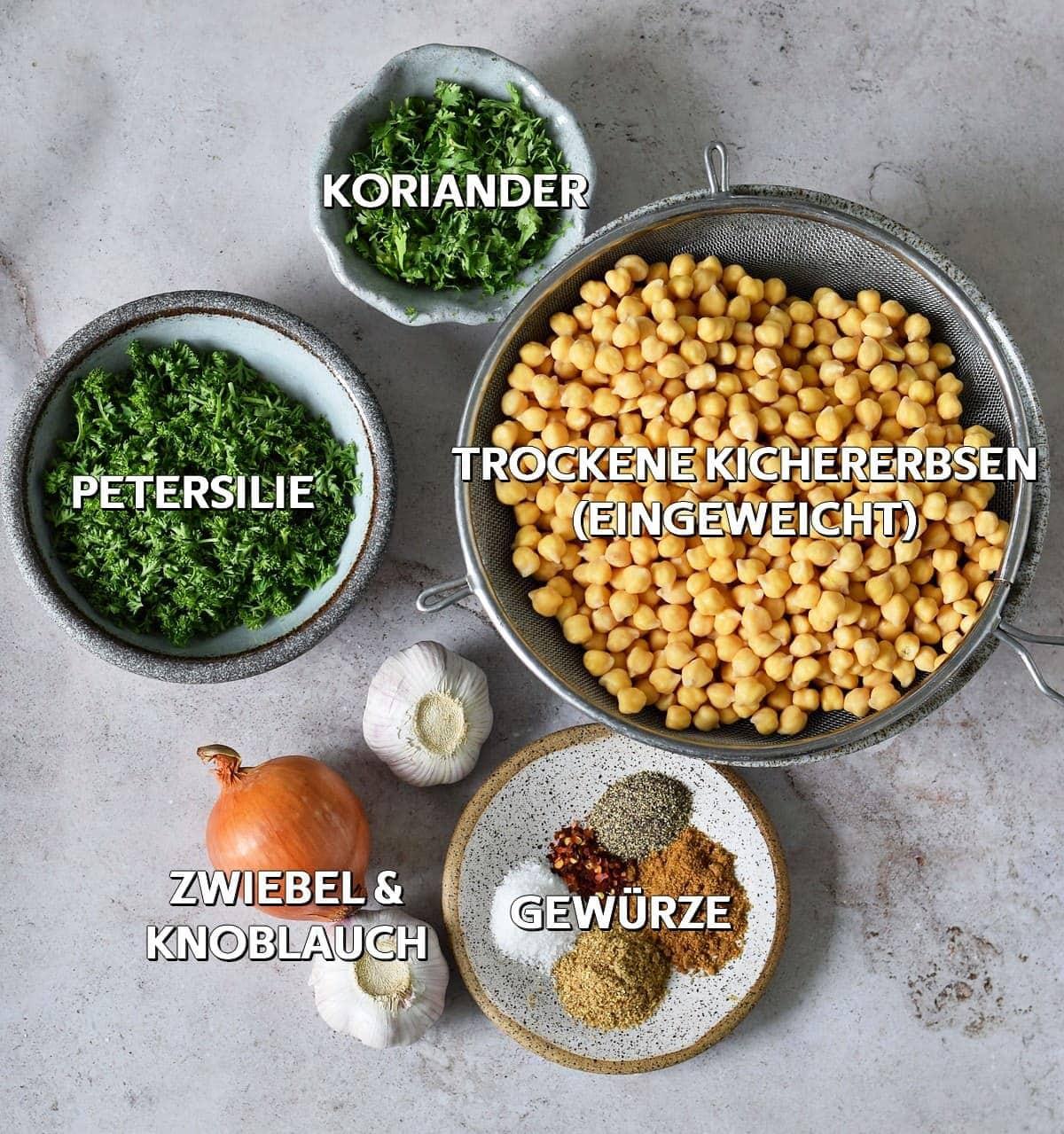 Falafel Zutaten
