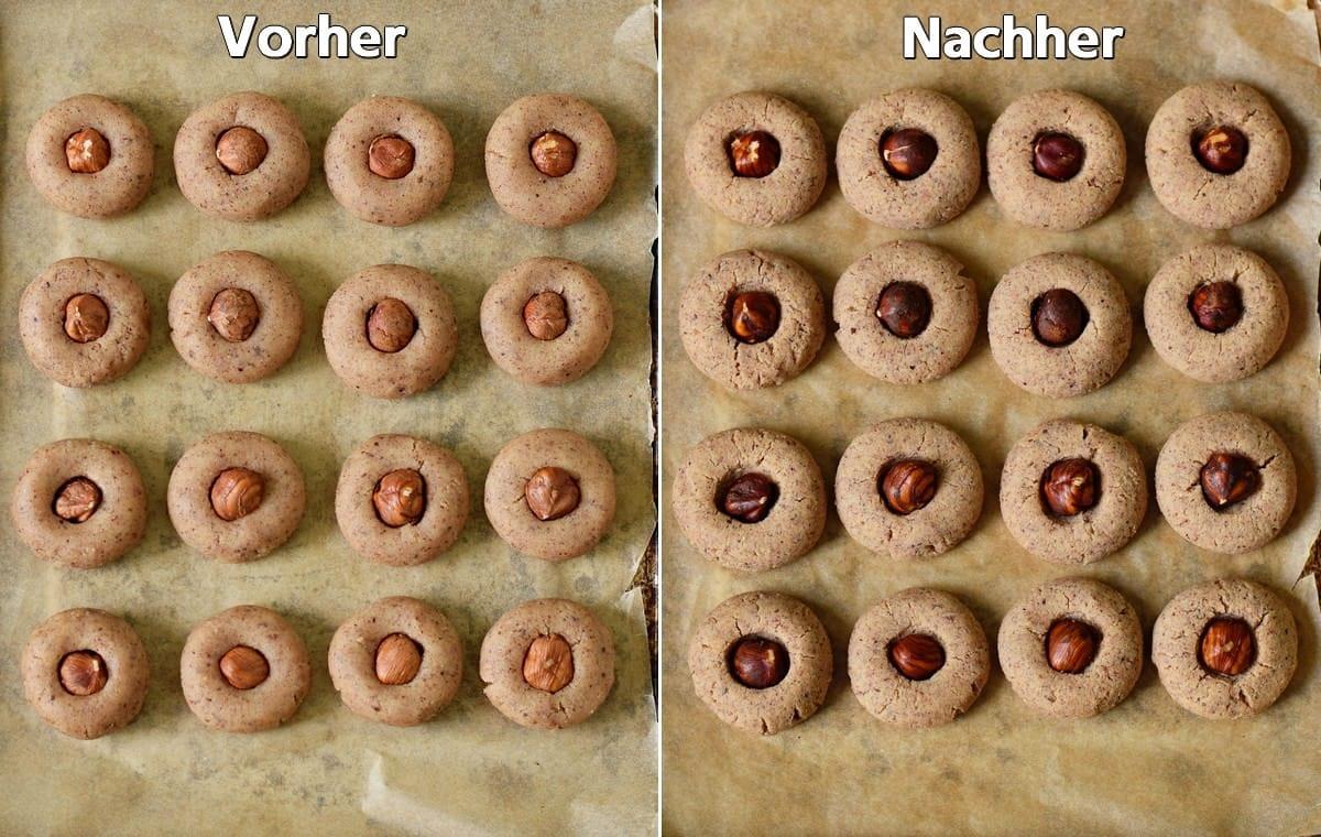 Haselnussplätzchen vor und nach dem Backen