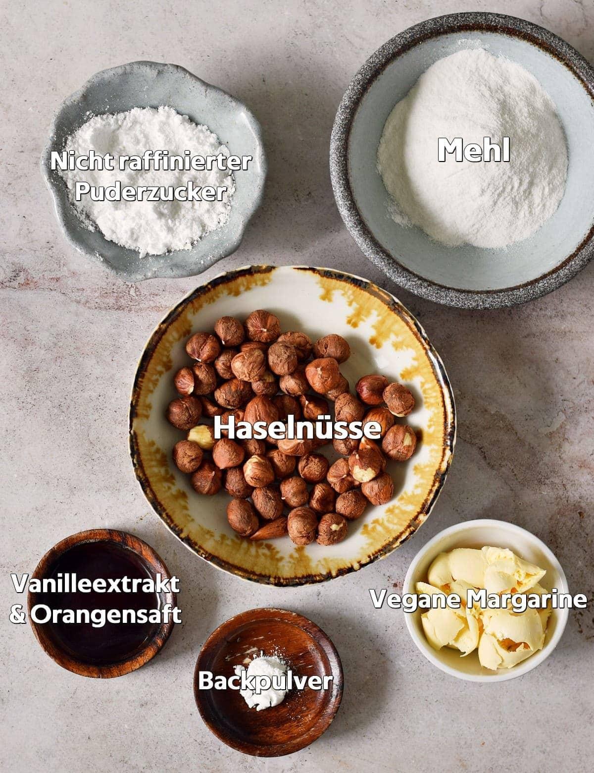 Zutaten für Haselnussplätzchen