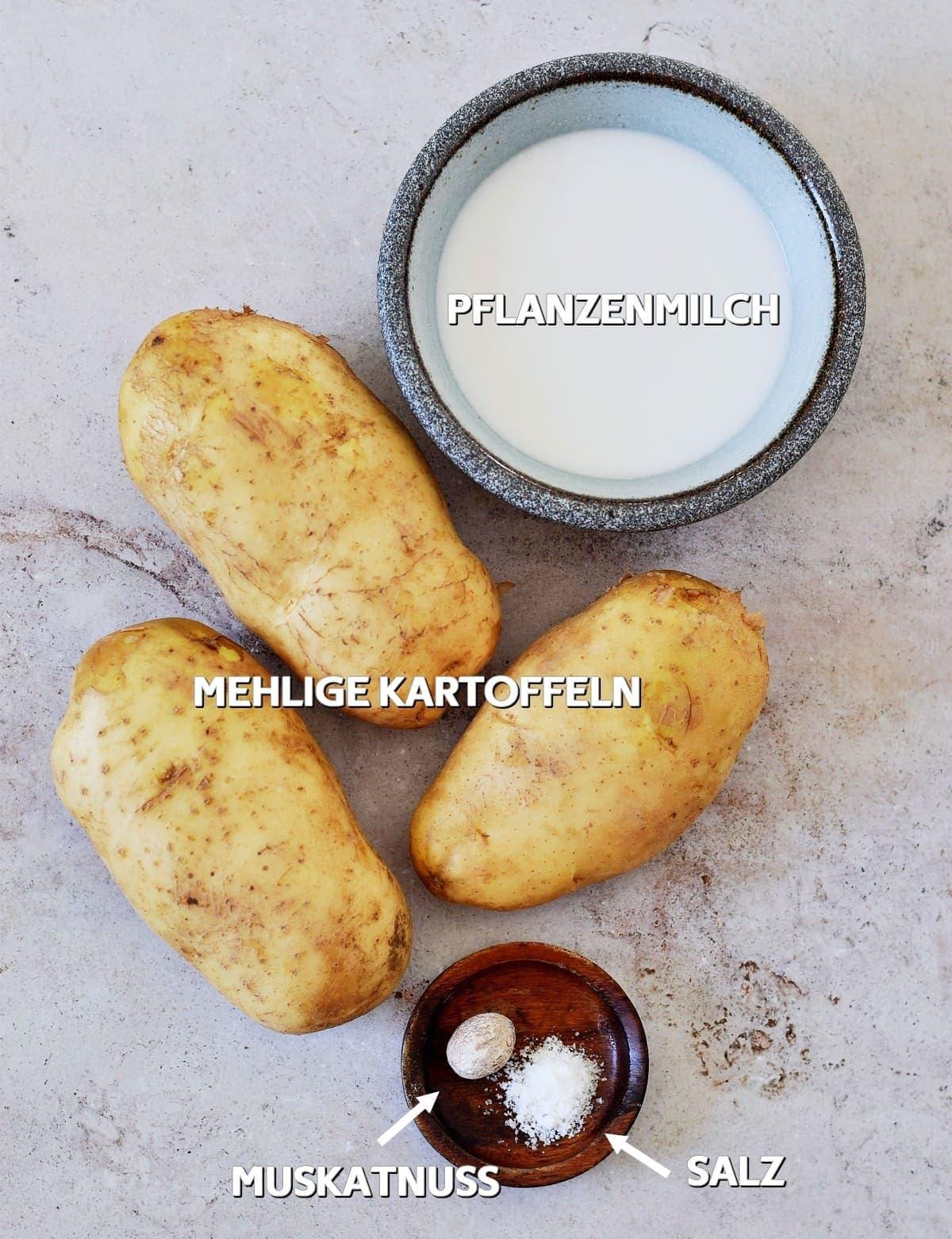 Zutaten für veganen Kartoffelbrei