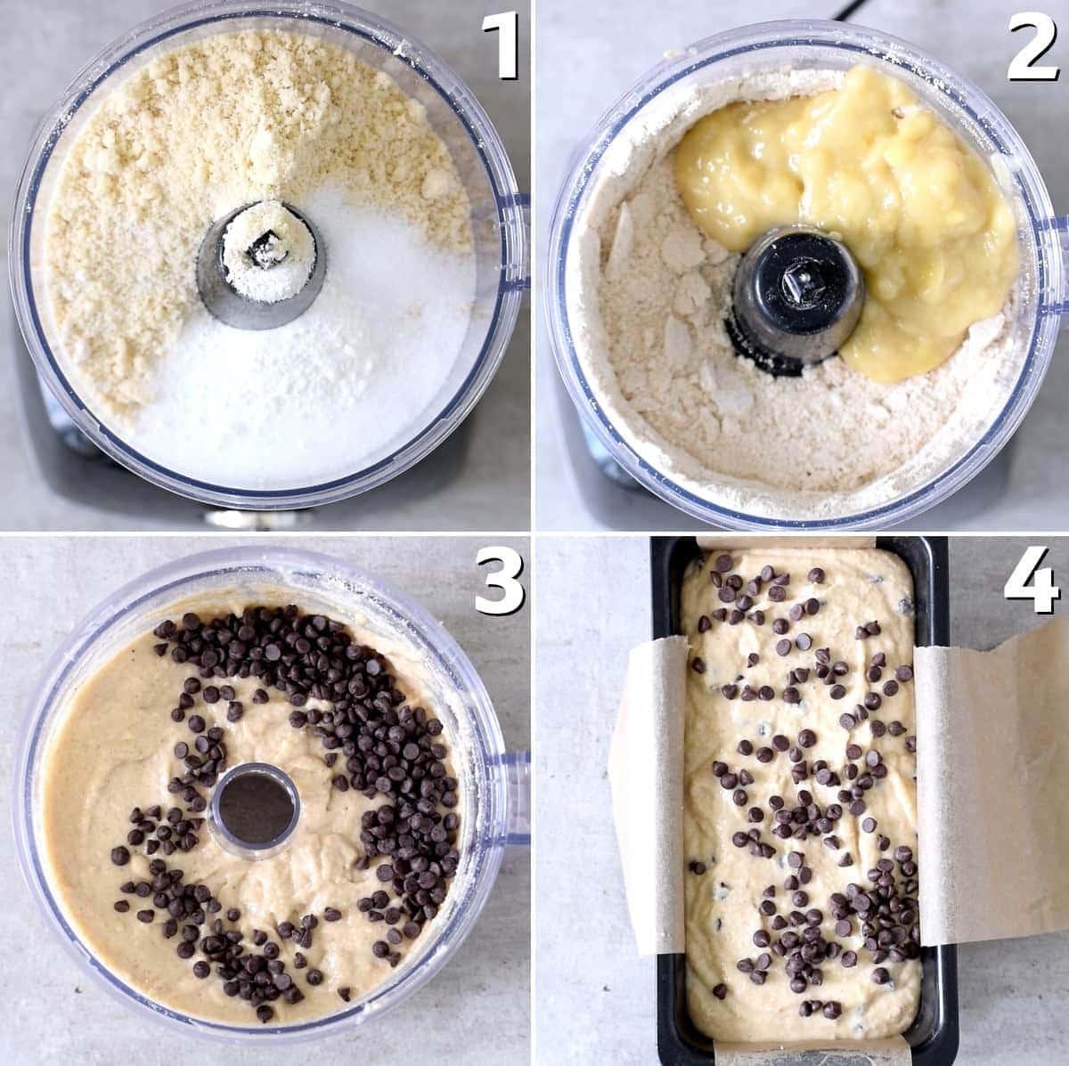 4 Schritt-Für-Schritt-Fotos wie man vegan banana bread im Zerkleinerer zubereitet