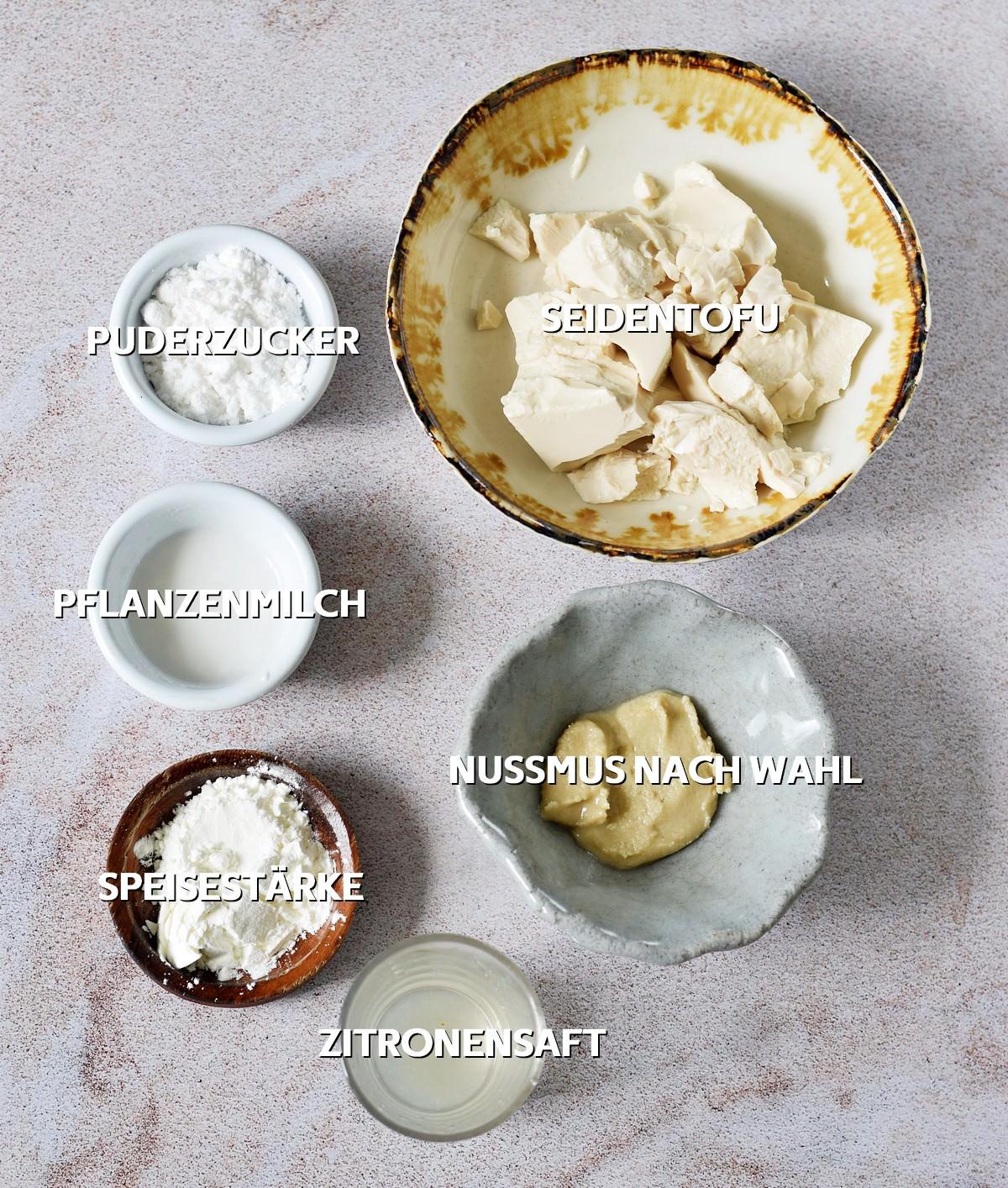 Zutaten für vegane Käsekuchen-Schicht