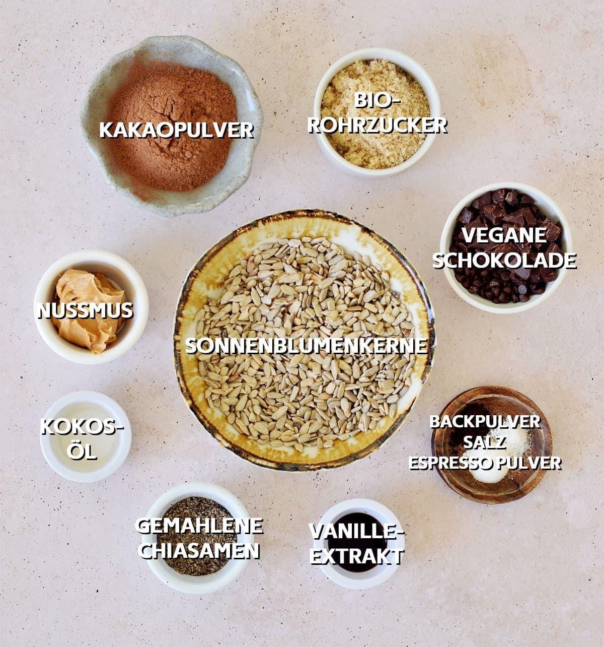 Zutaten für vegane Schoko Cookies