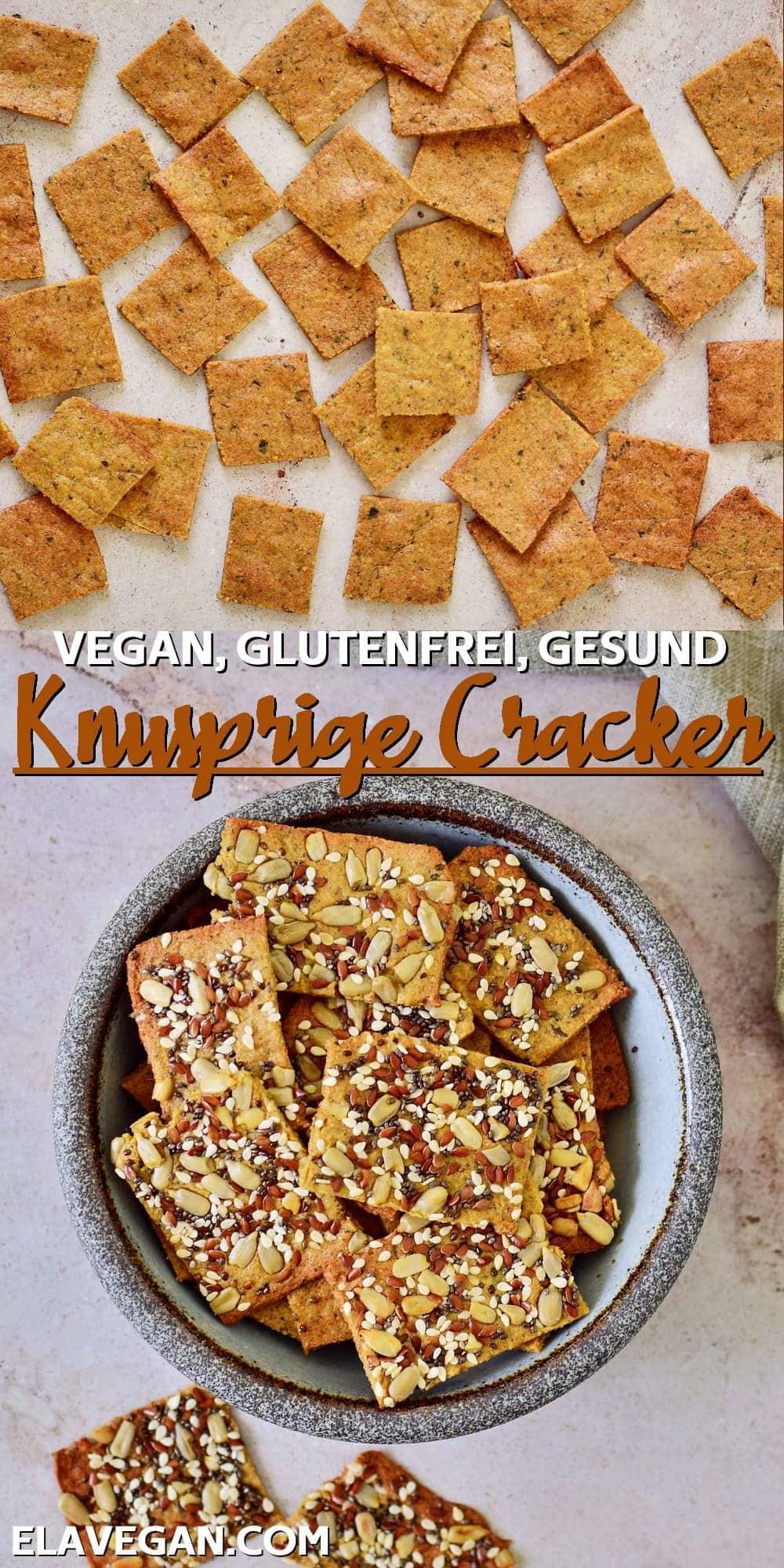 Collage vegan, glutenfrei, gesund, knusprige Cracker