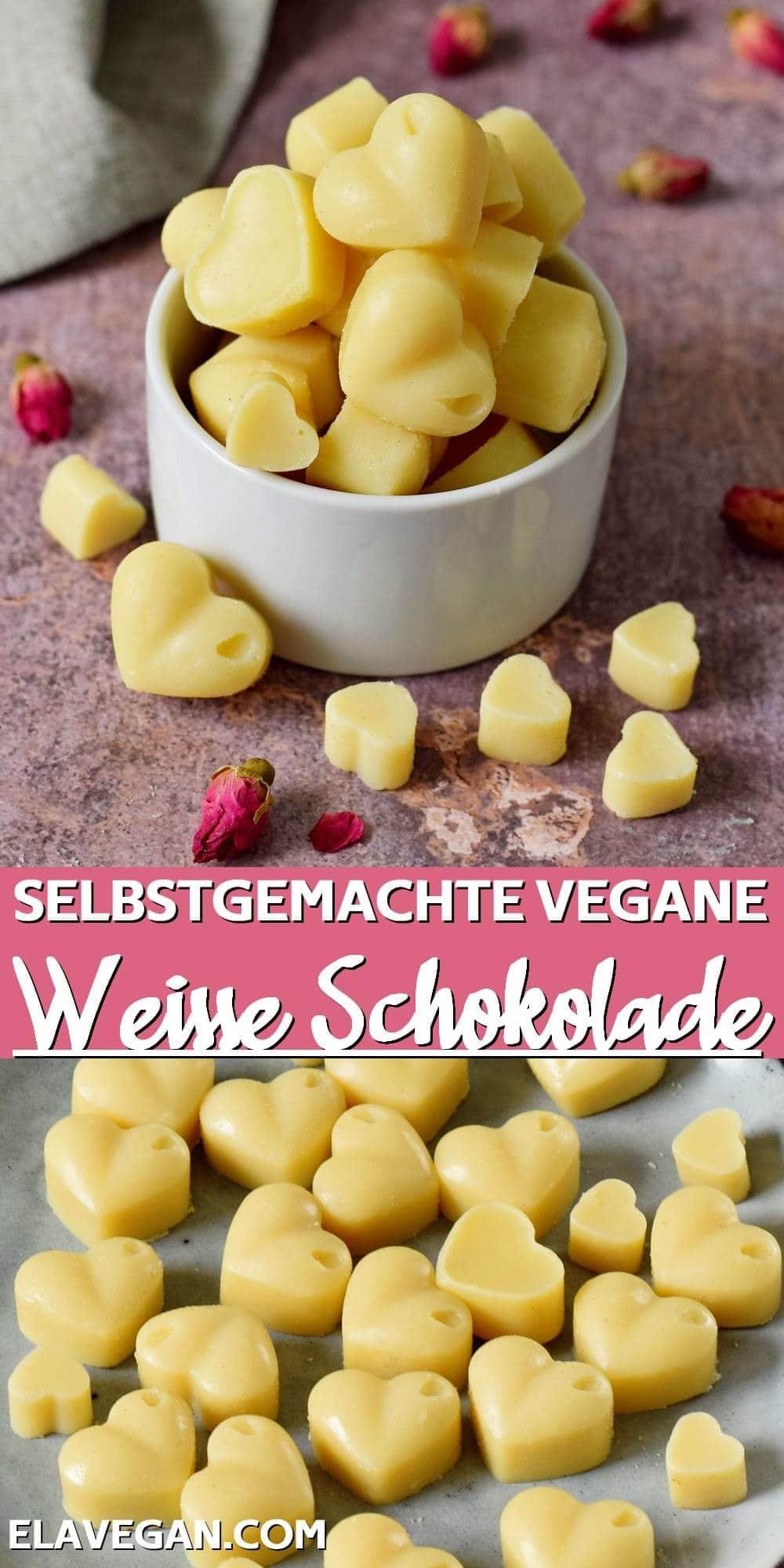 Pinterest collage selbstgemachte vegane weiße Schokolade