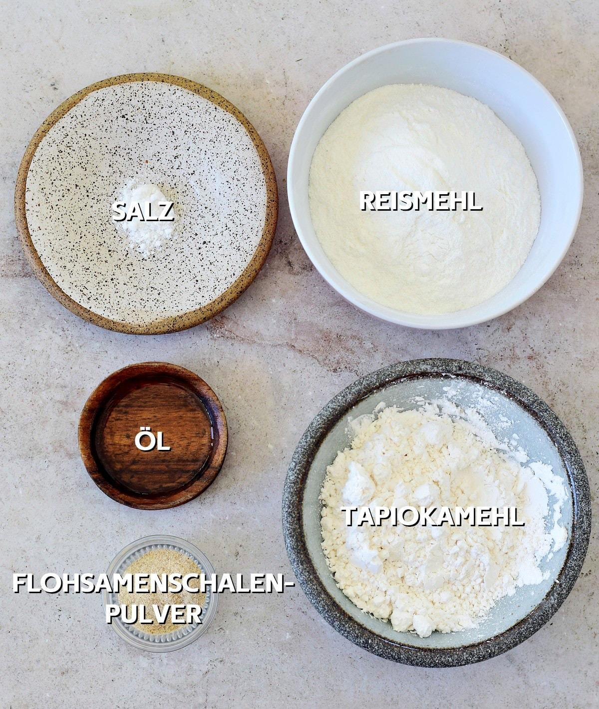 Zutaten für glutenfreien Dumpling Teig