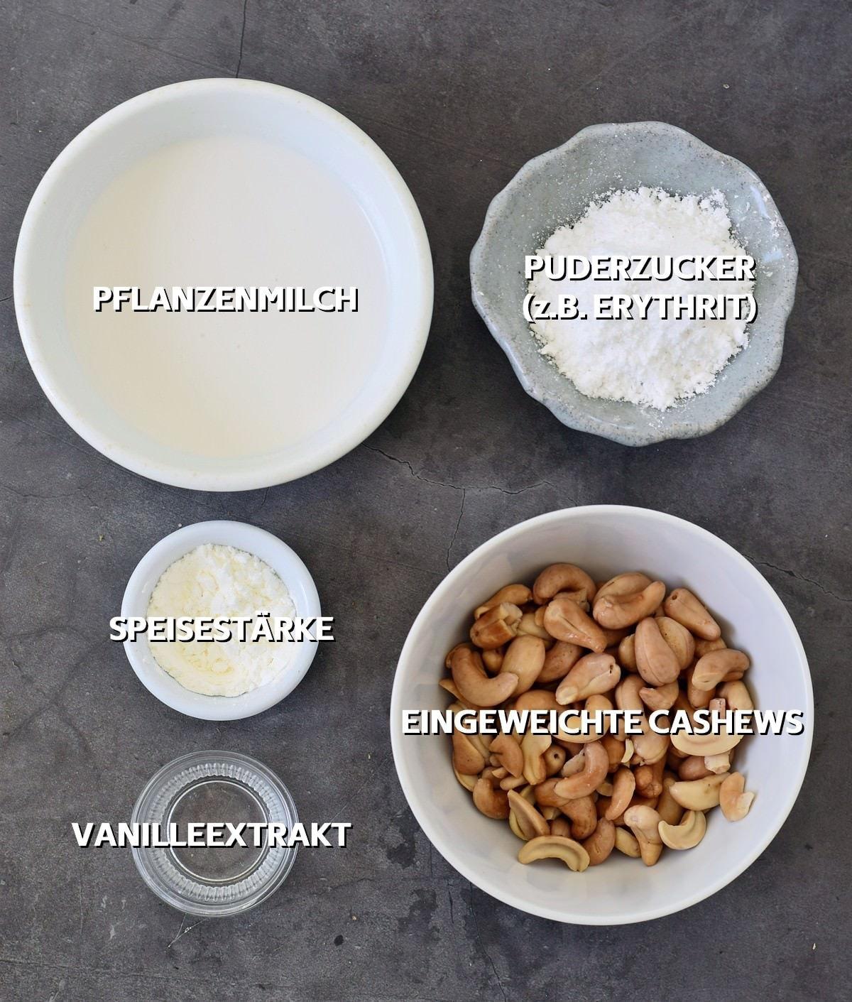 Zutaten für veganes Frosting