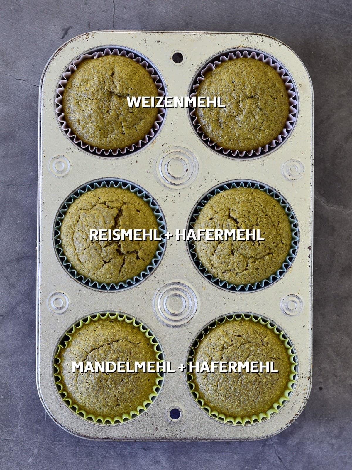 Matcha Muffins getestet mit verschiedenen Mehl-Kombinationen