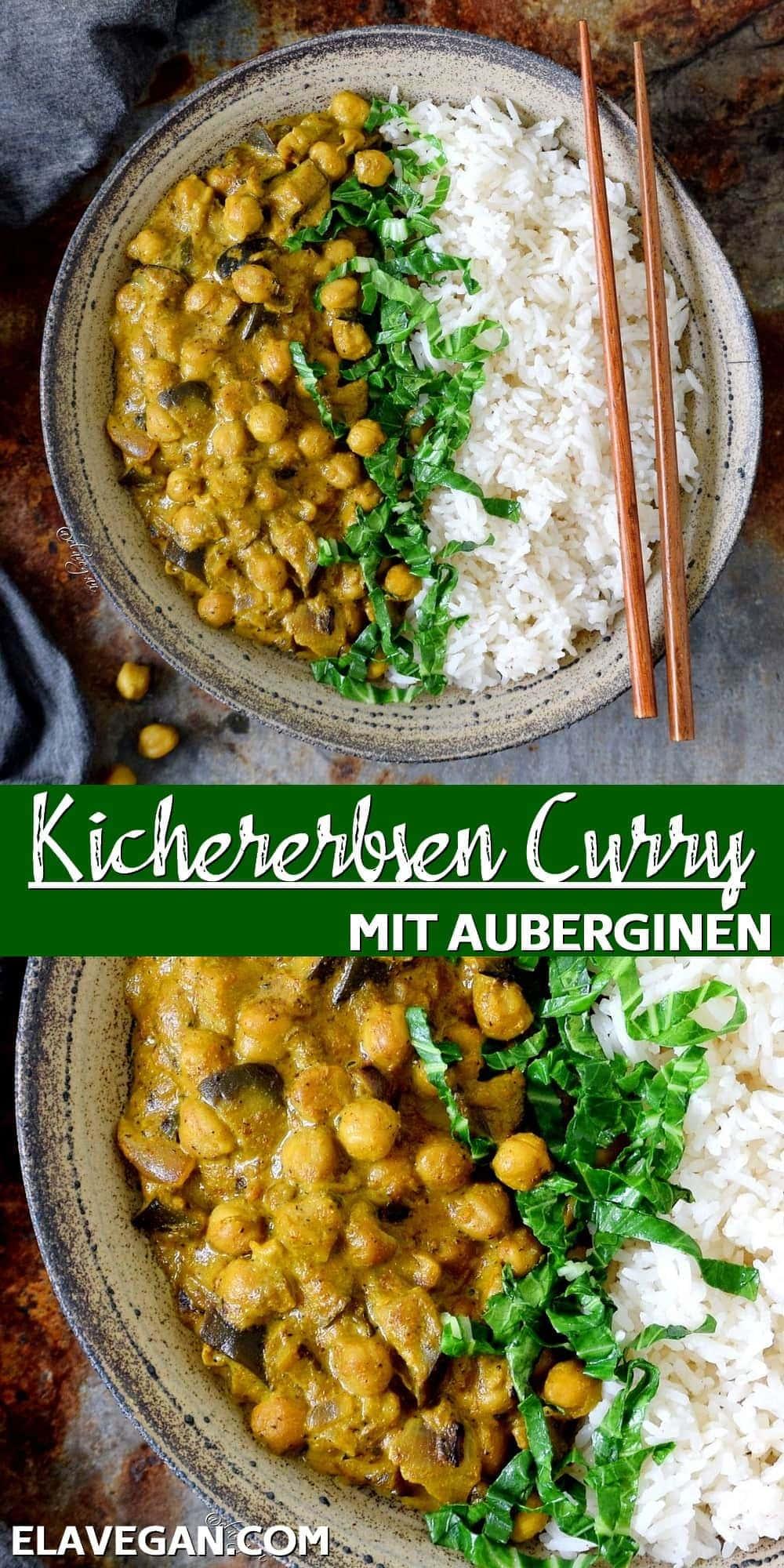 Pinterest Collage Kichererbsen Curry mit Auberginen