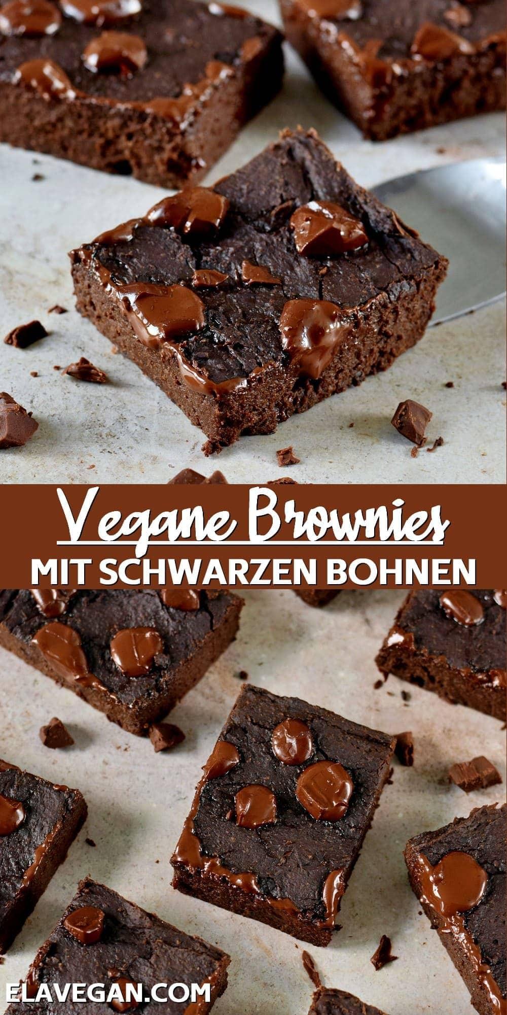 Pinterest collage vegane Brownies mit schwarzen Bohnen
