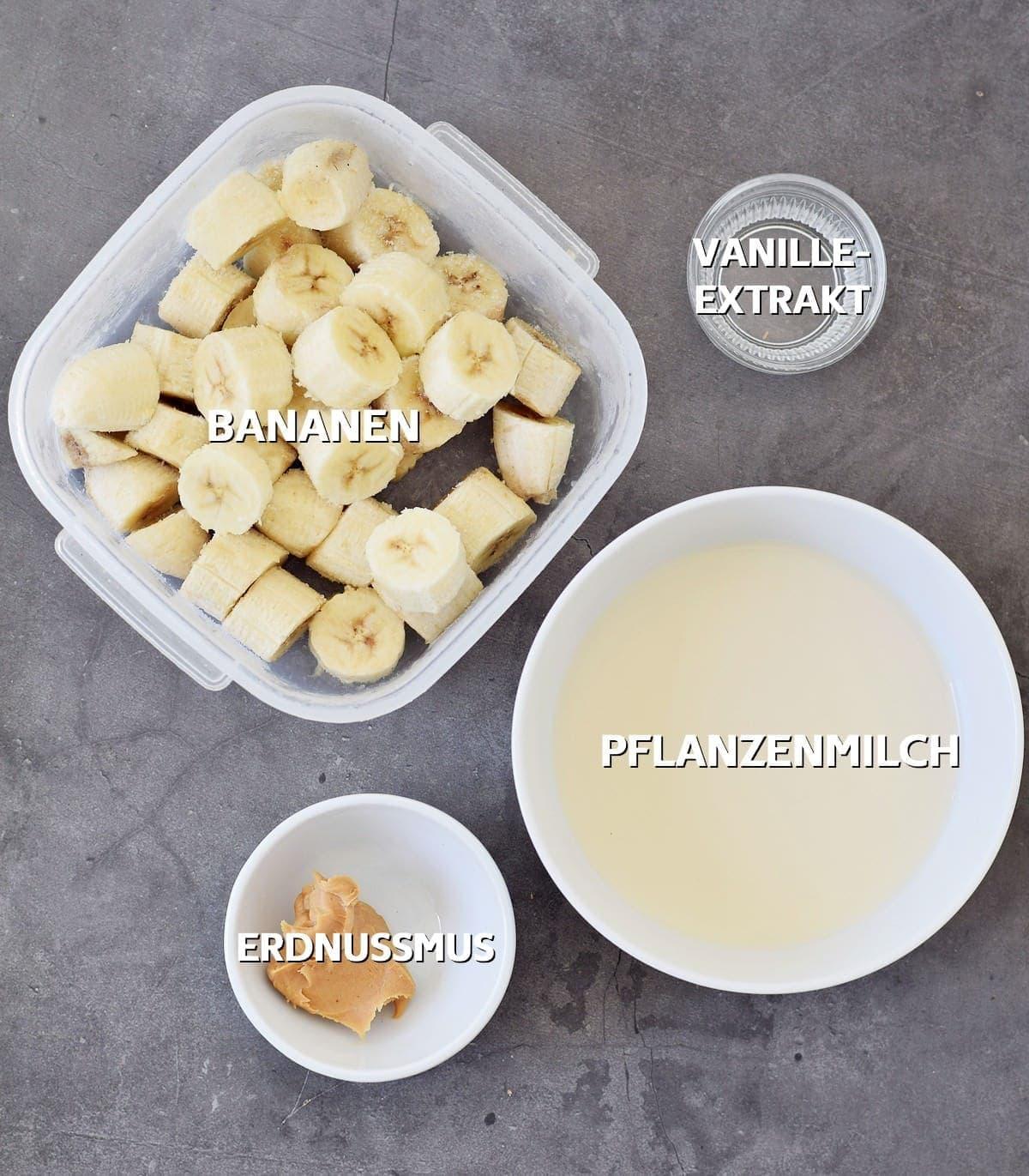 Zutaten für Bananenshake