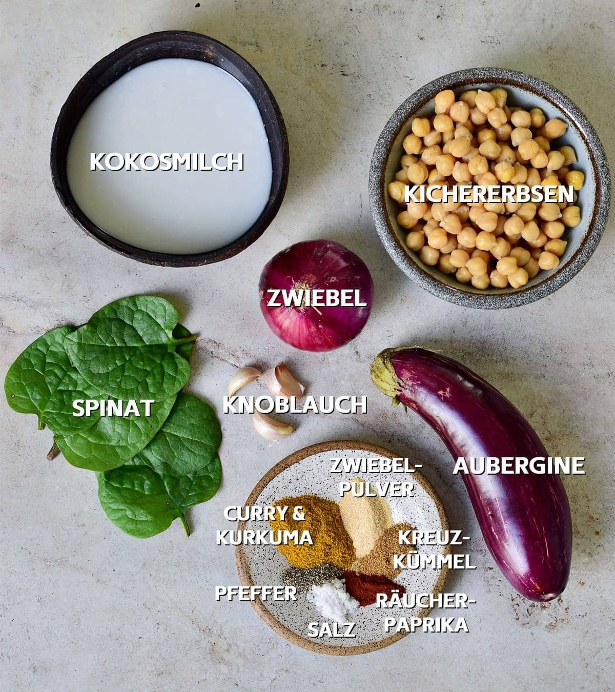 Zutaten für Kichererbsen-Auberginen-Curry
